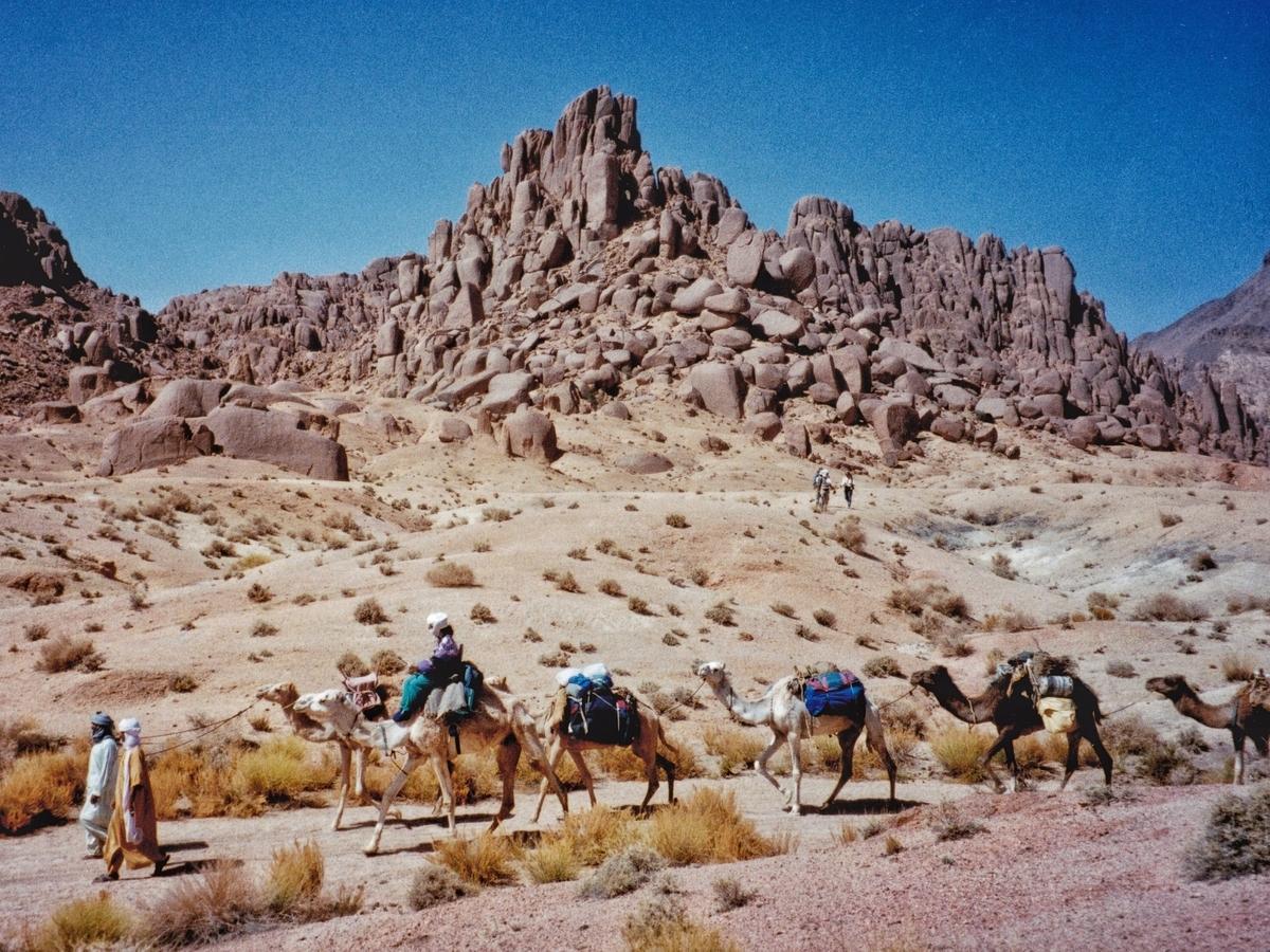 La carovana in Hoggar, Sahara algerino